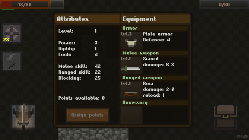 Caves is a pretty classic roguelike, when you level up you can assign points to skills.